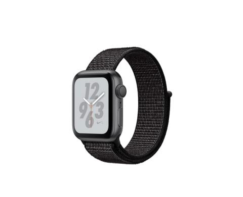 c0c28d979192 Apple Watch Nike+ Series 4 (MU7G2RU A), 40 мм, корпус из алюминия цвета  «серый космос», спортивный браслет Nike чёрного цвета