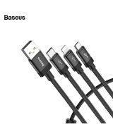 Baseus 3 в 1 USB кабель Type-C Micro USB Phone Charger Cord (Black)